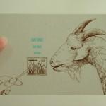 ヤギと切手のポストカード