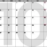 October 2015 Calendar