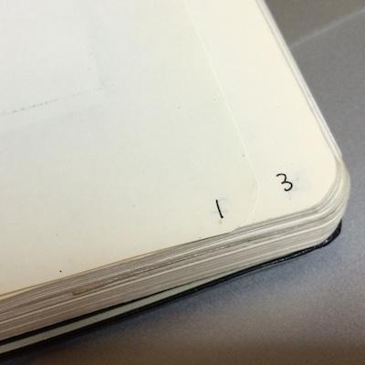モレスキンに最初に書いた文字。手前のページのノンブルの『1』